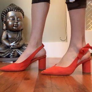 Zara heels in bright orange